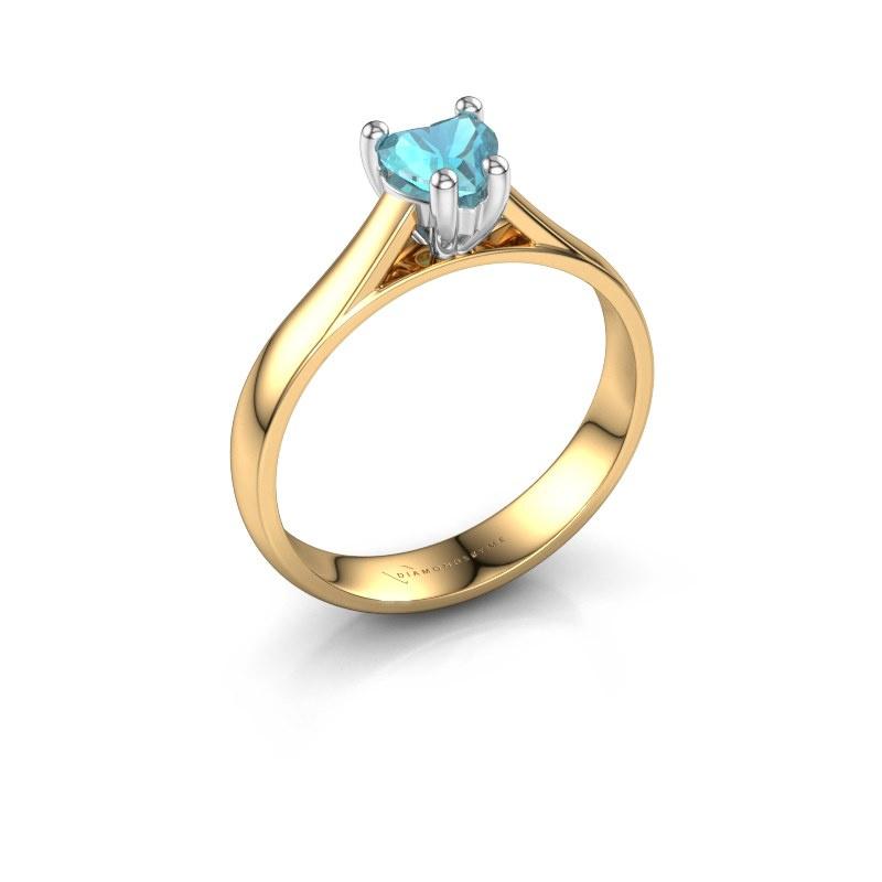 Engagement ring Sam Heart 585 gold blue topaz 5 mm