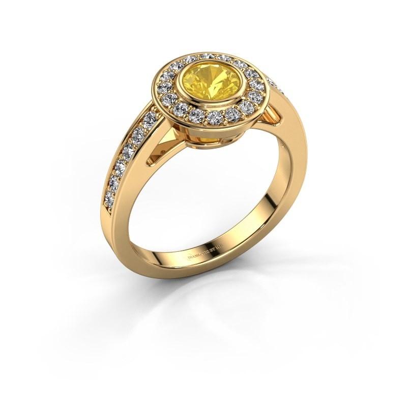 Verlovingsring Raven 1 375 goud gele saffier 5 mm