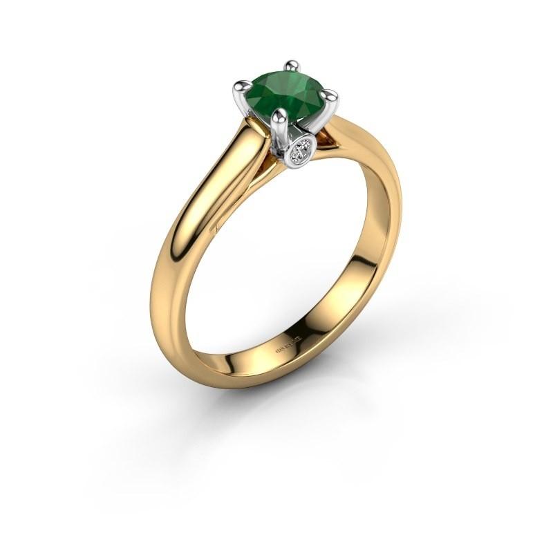 Verlovingsring Valorie 1 585 goud smaragd 5 mm