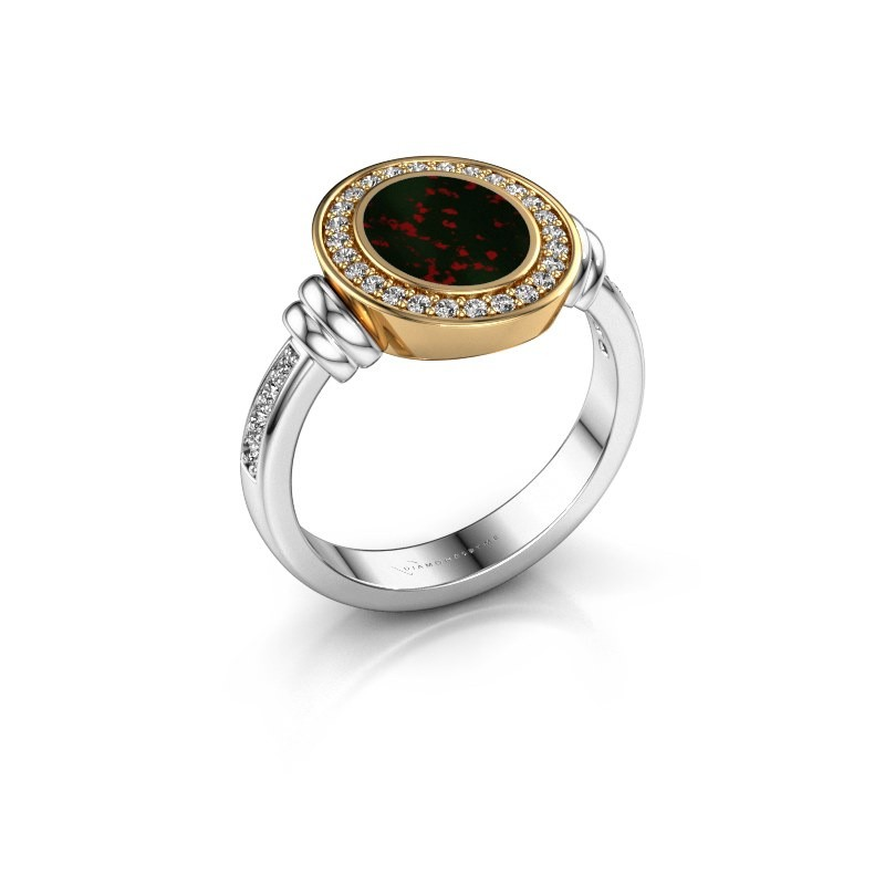 Signet ring Bailey 585 white gold bloodstone 10x8 mm
