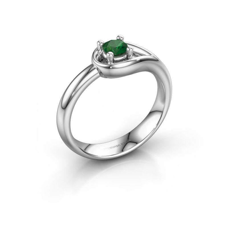 Ring Fabienne 925 silver emerald 4 mm