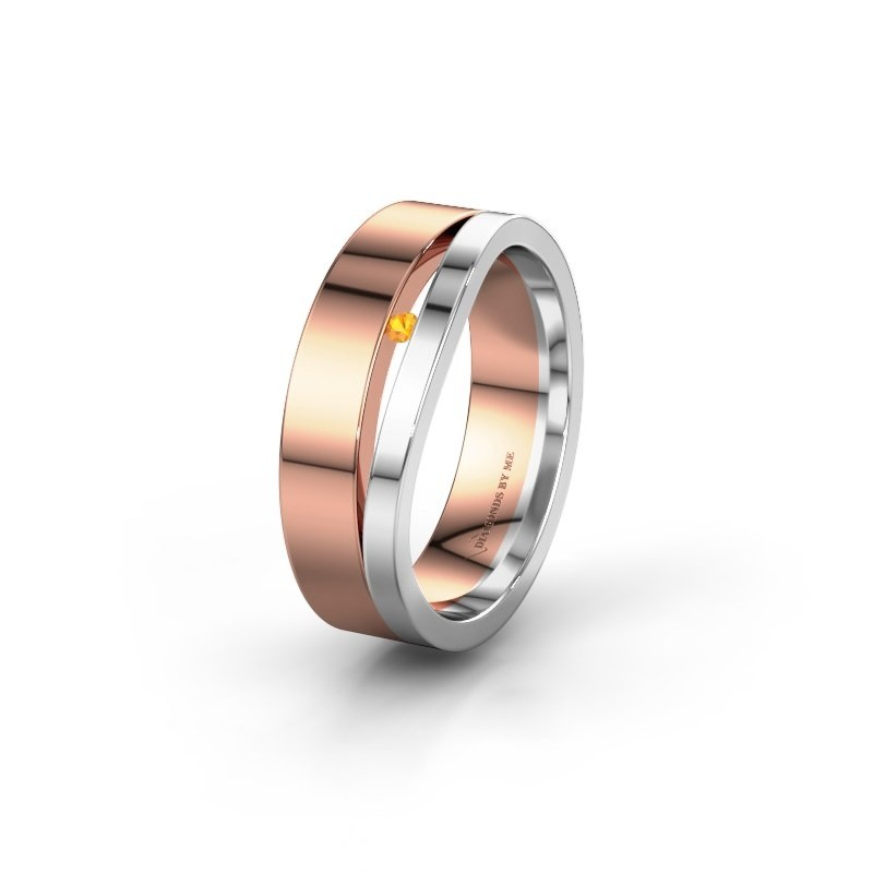 Wedding ring WH6000L16AP 585 rose gold citrin ±6x1.7 mm