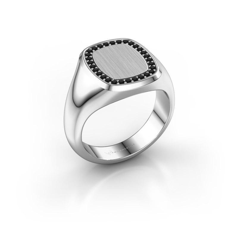 Heren ring Floris Cushion 3 585 witgoud zwarte diamant 0.270 crt