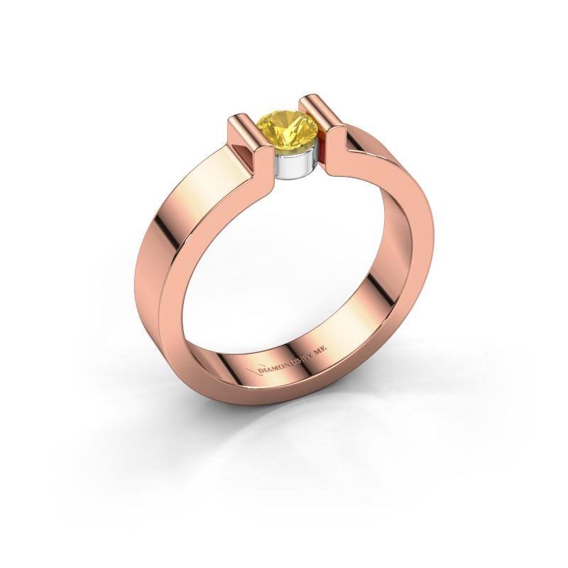 Verlovingsring Isabel 1 585 rosé goud gele saffier 4 mm