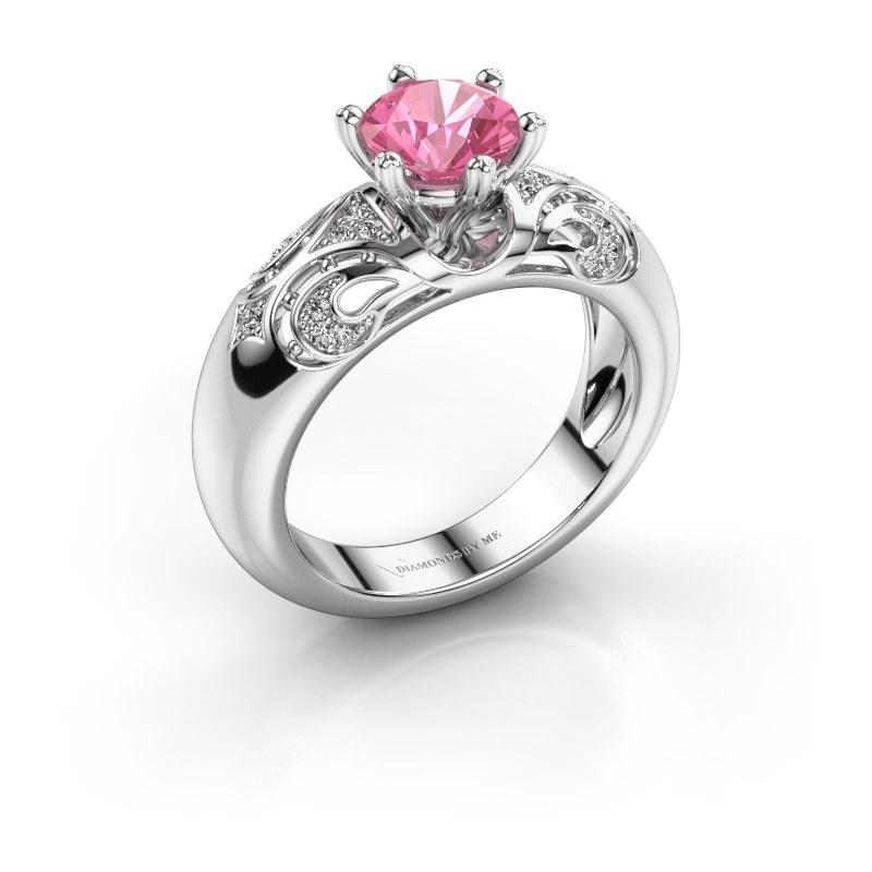 Ring Maya 585 white gold pink sapphire 6.5 mm
