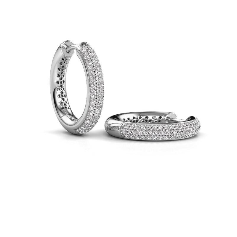 Creolen Tristan B 19 mm 585 witgoud diamant 0.58 crt