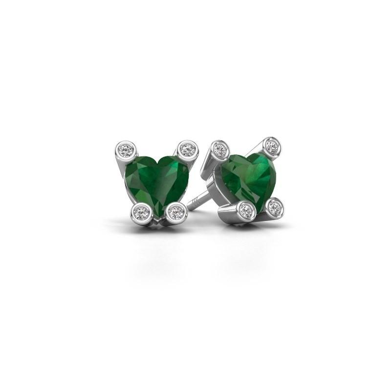 Oorstekers Cornelia Heart 375 witgoud smaragd 6 mm