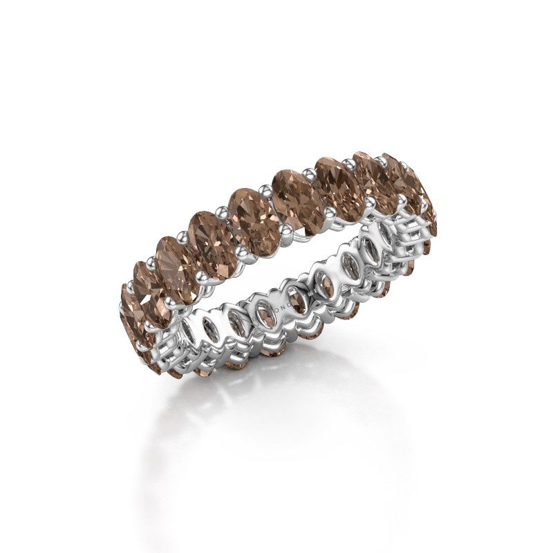 Aanschuifring Heddy OVL 3x5 375 witgoud bruine diamant 5.06 crt