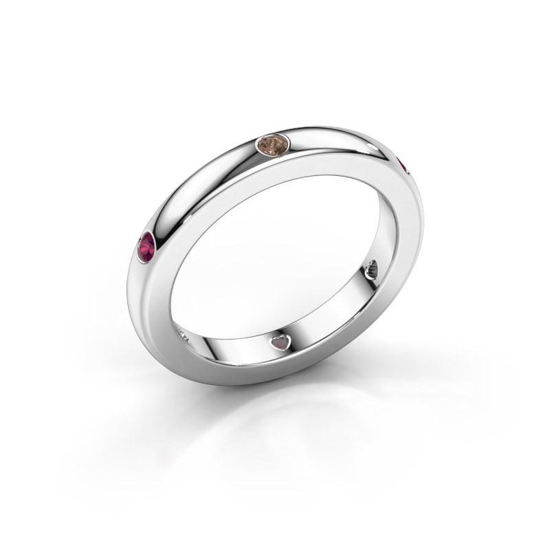 Aanschuifring Charla 950 platina bruine diamant 0.09 crt