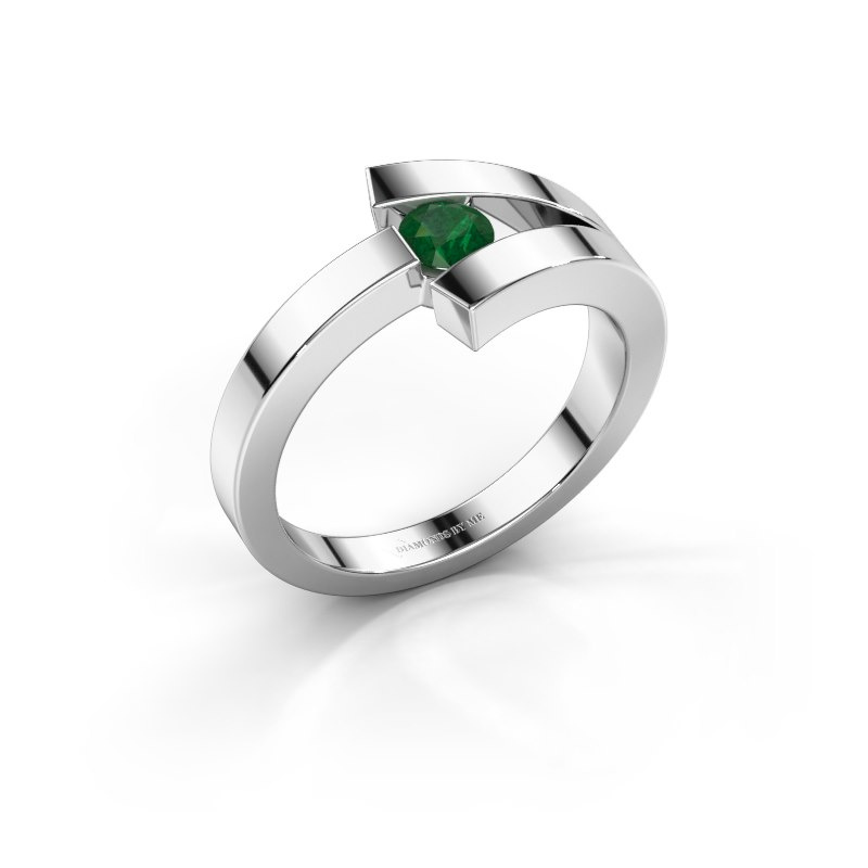 Ring Sofia 585 Weißgold Smaragd 3.7 mm