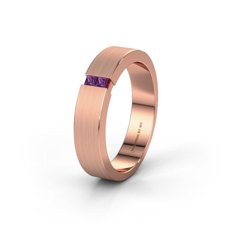 Trouwring WH2136M15E 375 rosé goud amethist ±5x2.4 mm