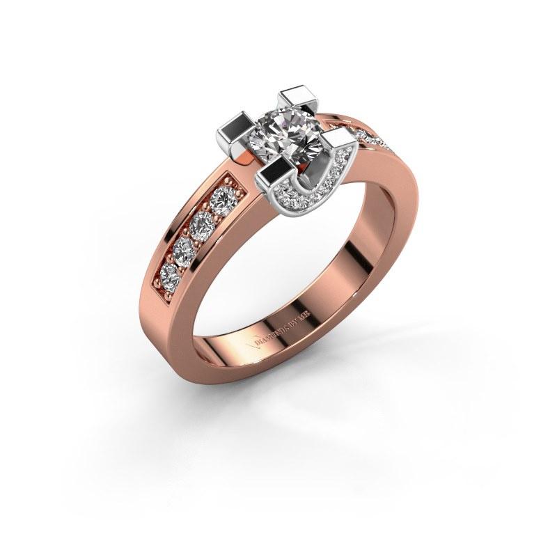 Verlovingsring Jasmijn 2 585 rosé goud diamant 0.72 crt