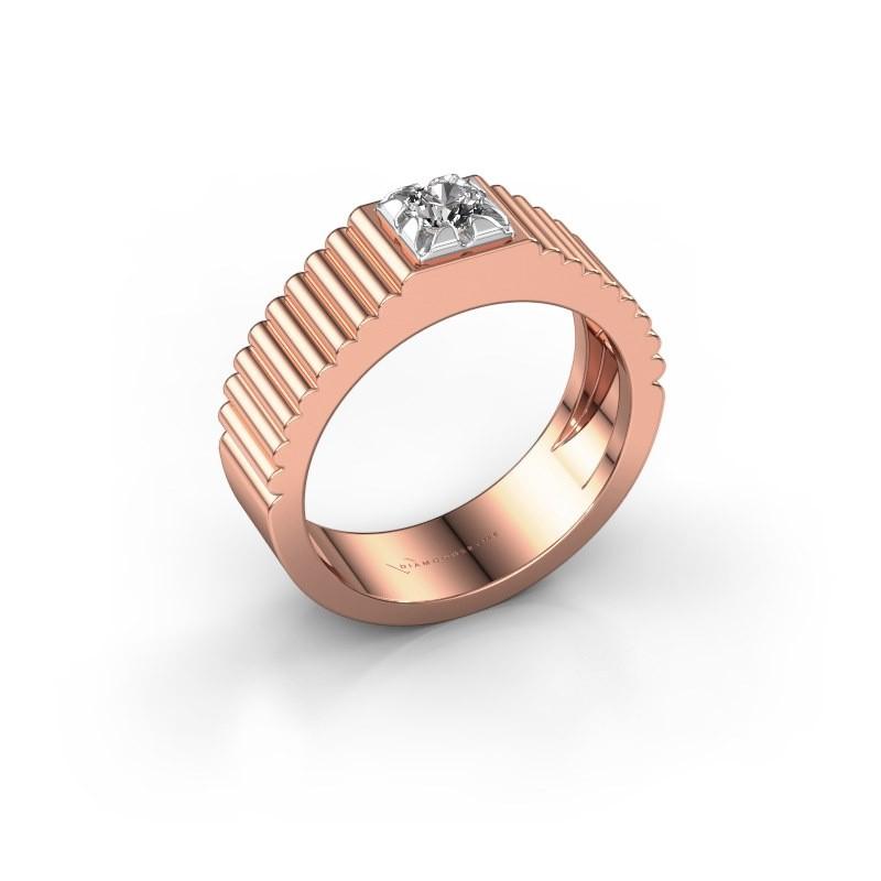 Pink ring Elias 585 rosé goud diamant 0.25 crt