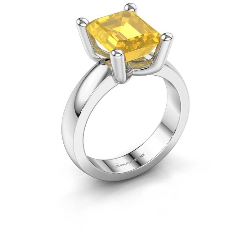 Ring Clelia EME 950 platina gele saffier 10x8 mm