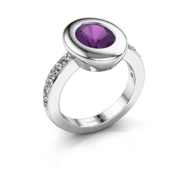 Ring Selene 2 950 platina amethist 9x7 mm