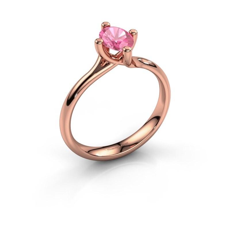 Verlobungsring Dewi Oval 585 Roségold Pink Saphir 7x5 mm