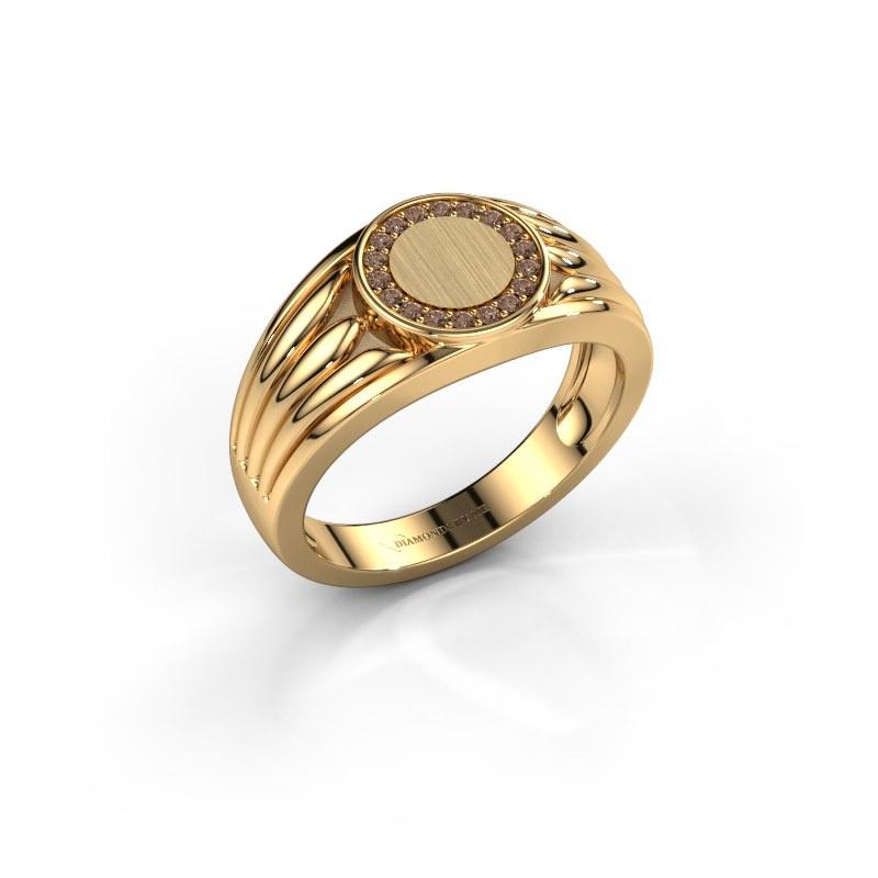 Pinky Ring Jacobus 585 Gold Braun Diamant 0.135 crt