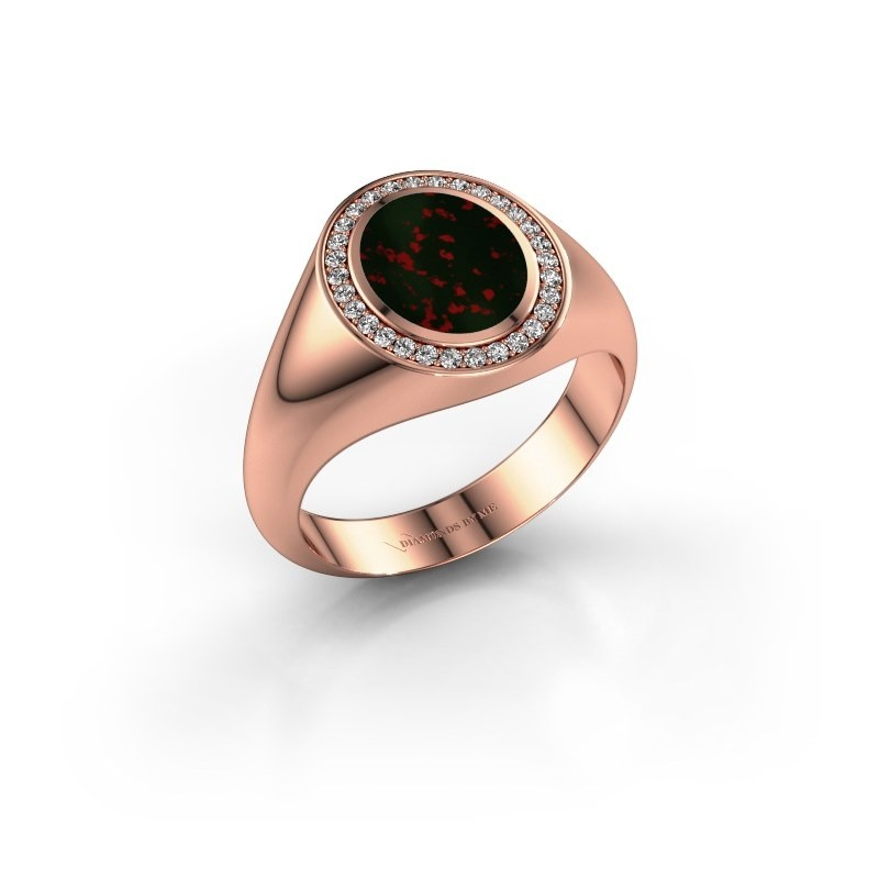 Pinky ring Adam 1 375 rose gold bloodstone 10x8 mm