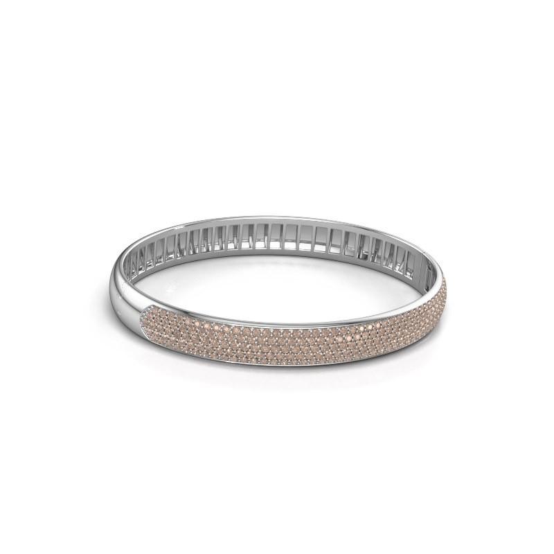 Slavenarmband Emely 8mm 585 witgoud bruine diamant 3.036 crt