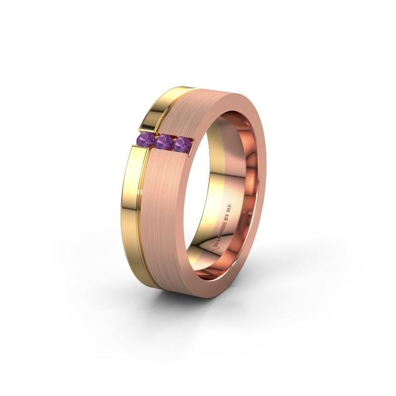 Trouwring WH0327L16B 585 rosé goud amethist ±6x2 mm
