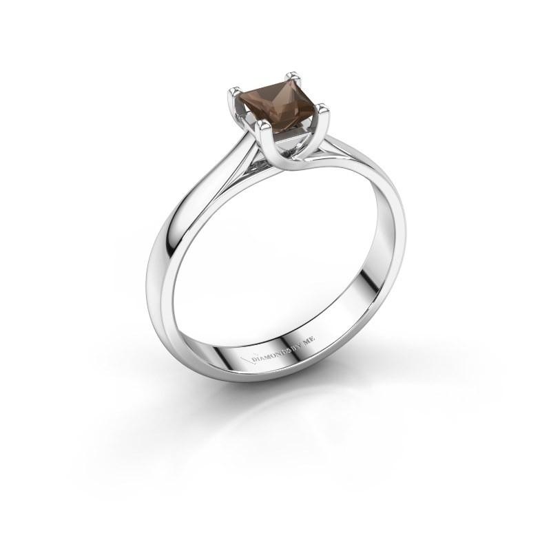 Engagement ring Mia Square 925 silver smokey quartz 4 mm