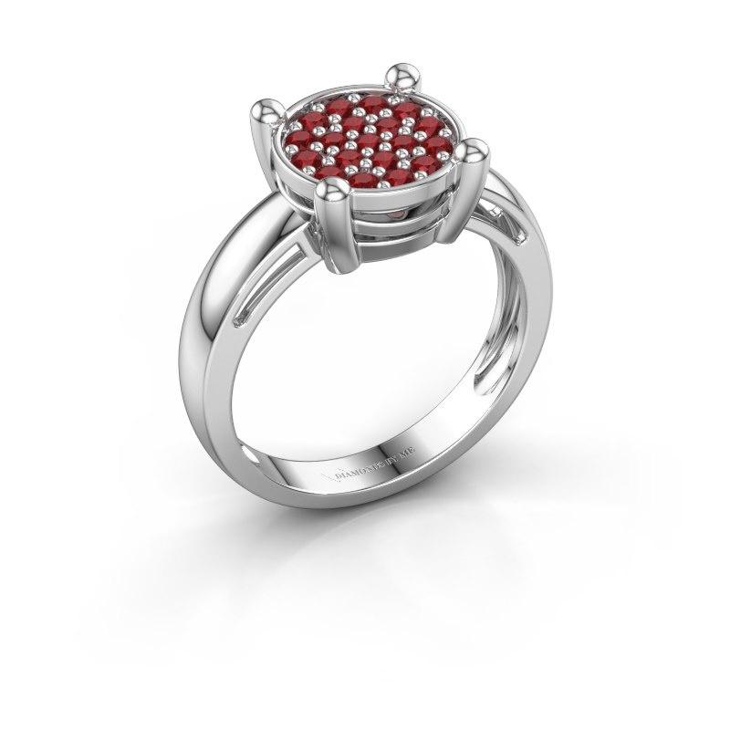 Ring Dina 585 witgoud robijn 1.6 mm