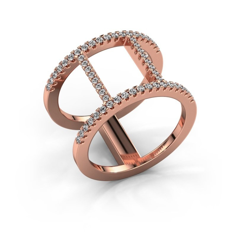 Ring Amee 375 rosé goud diamant 0.407 crt