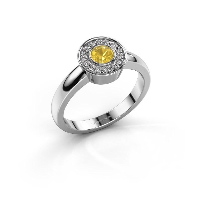 Ring Adriana 1 950 platina gele saffier 4 mm