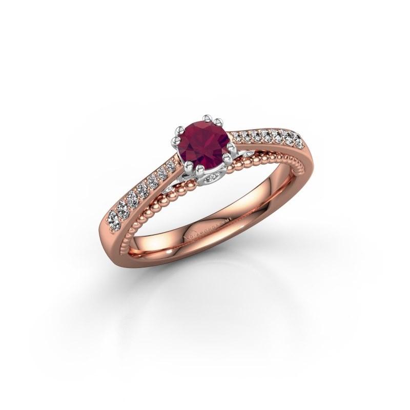 Verlovingsring Rozella 585 rosé goud rhodoliet 4.2 mm