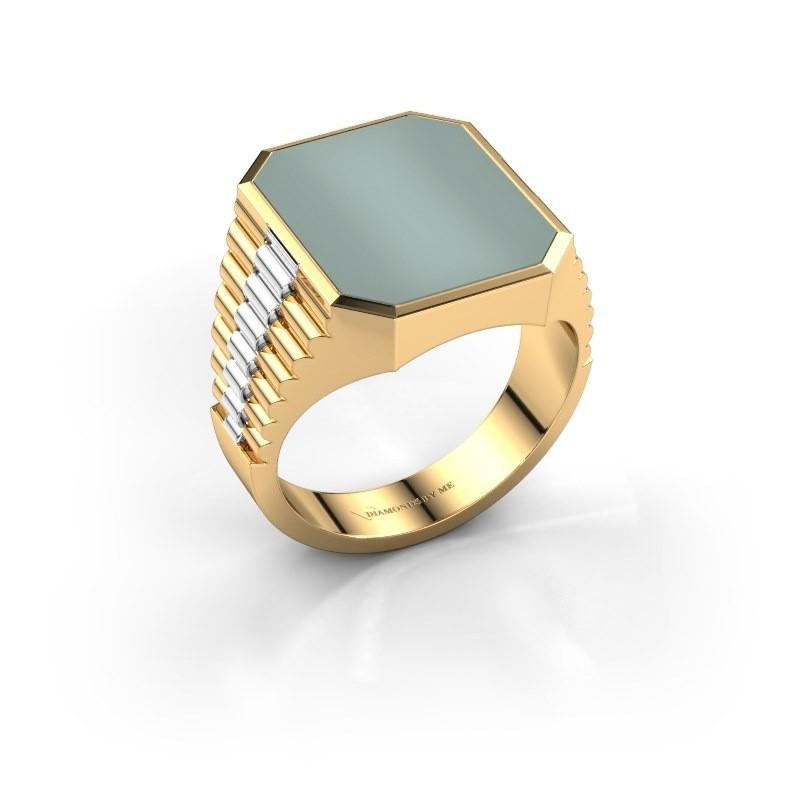 Zegelring Brent 4 585 goud groene lagensteen 16x13 mm