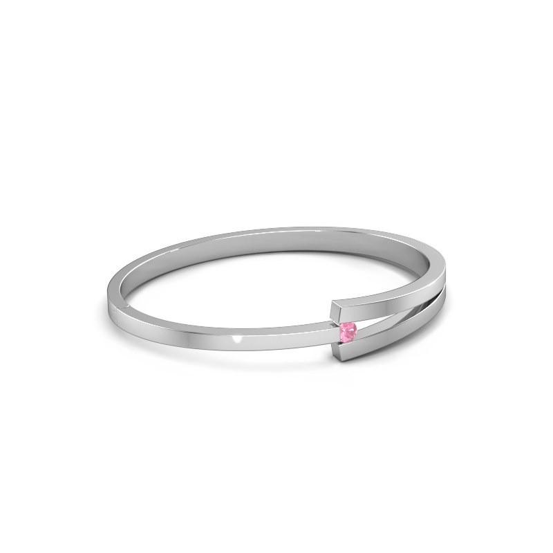 Slavenarmband Sofia 950 platina roze saffier 4 mm