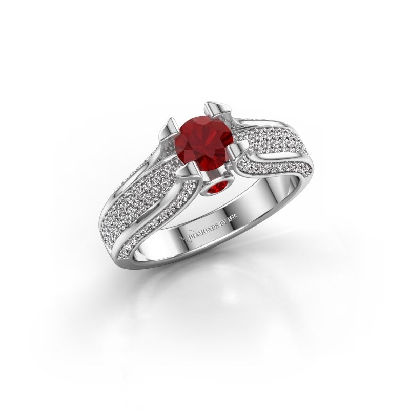 Engagement ring Jeanne 2 585 white gold ruby 5 mm