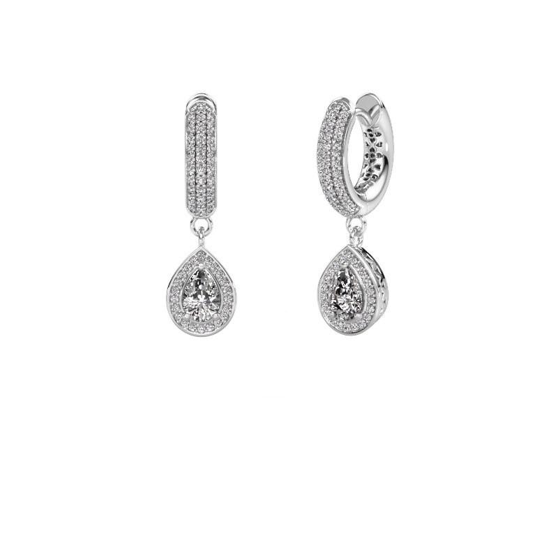 Drop earrings Barbar 2 375 white gold zirconia 6x4 mm