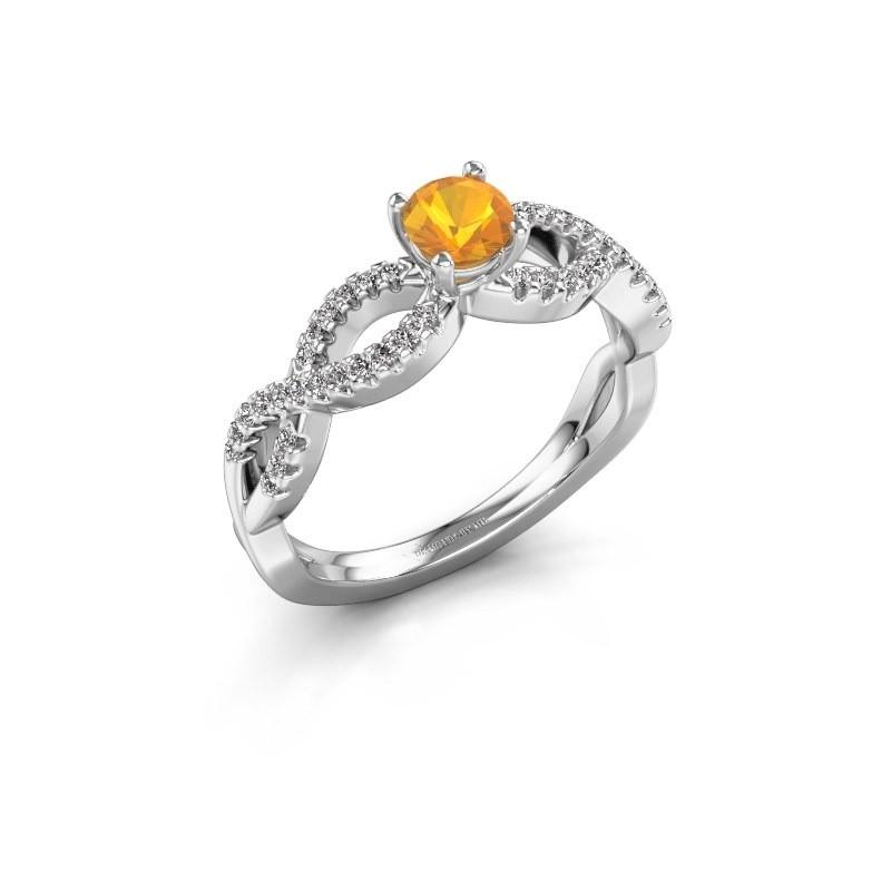Verlovingsring Hanneke 950 platina citrien 4.7 mm
