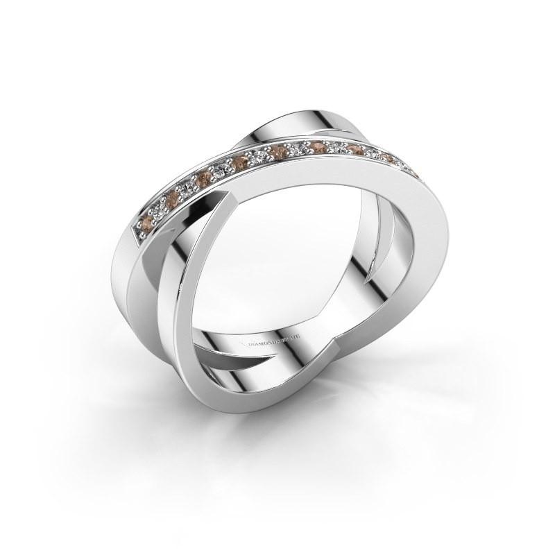 Ring Julie 585 witgoud bruine diamant 0.143 crt