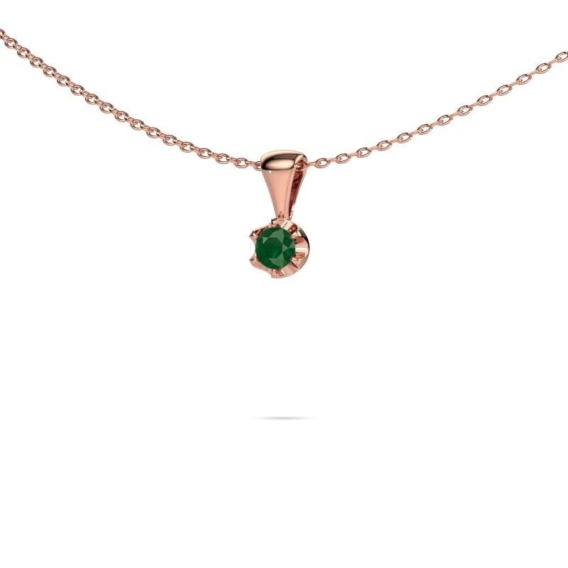 Ketting Fran 375 rosé goud smaragd 3.4 mm