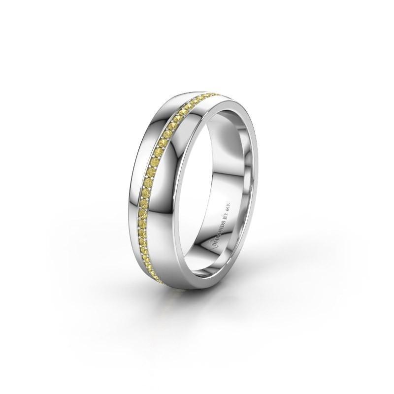 Wedding ring WH0109L25A 375 white gold yellow sapphire ±5x1.7 mm