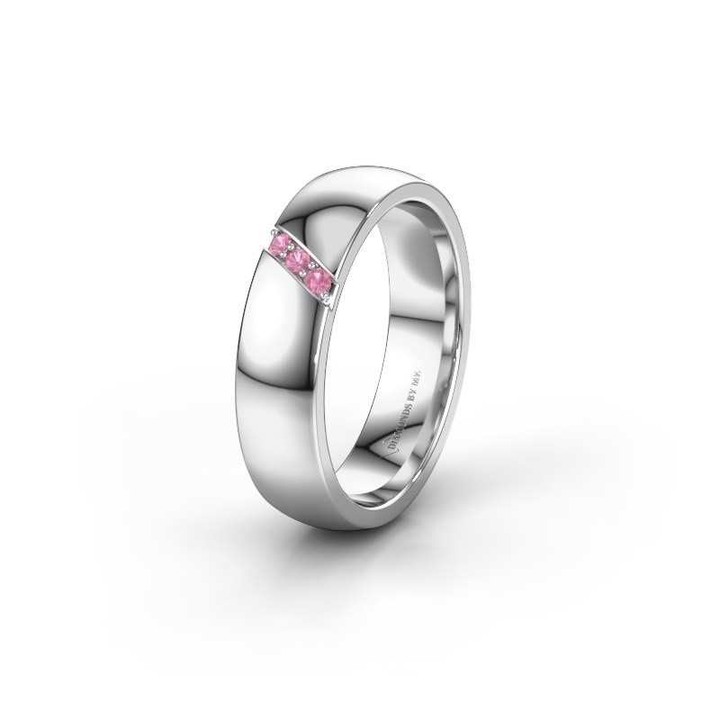 Wedding ring WH0174L25BP 585 white gold pink sapphire ±5x2 mm
