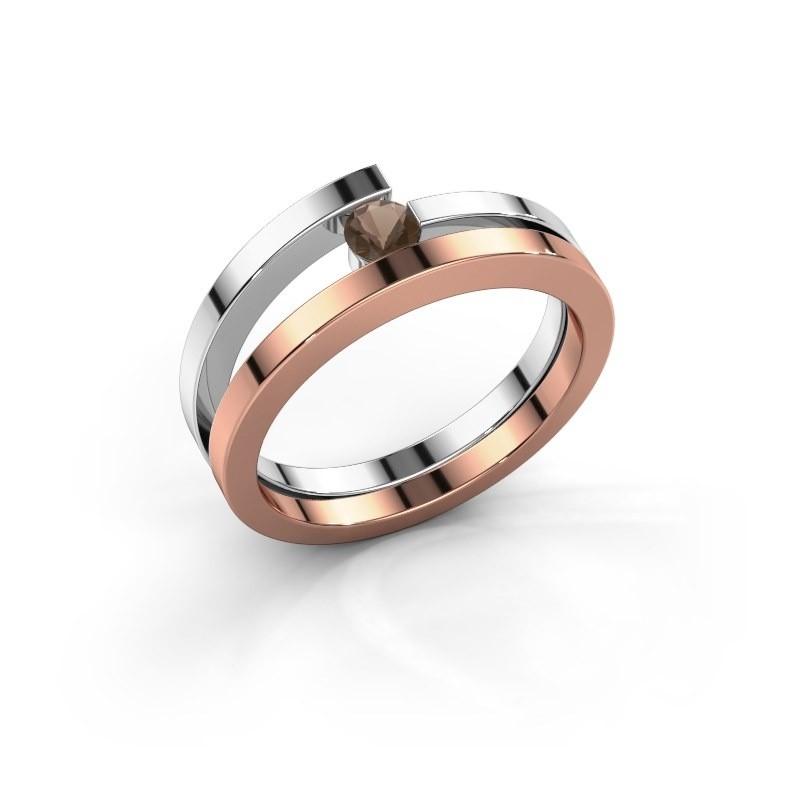 Ring Sandy 585 rosé goud rookkwarts 3.4 mm