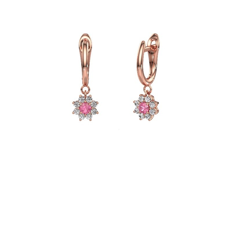 Drop earrings Camille 1 375 rose gold pink sapphire 3 mm