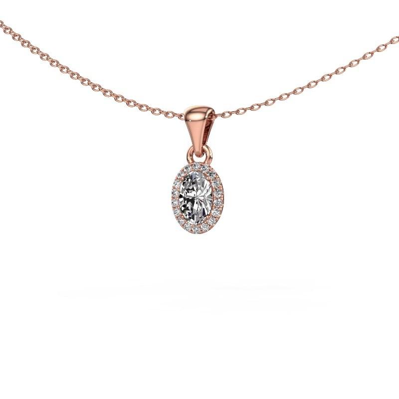 Hanger Seline ovl 375 rosé goud diamant 0.59 crt