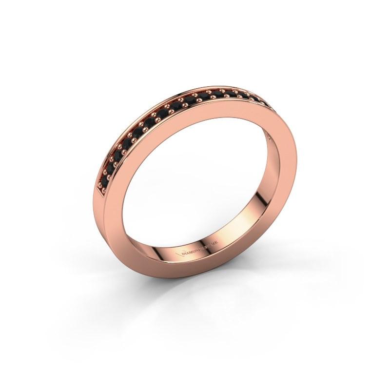 Aanschuifring Loes 4 585 rosé goud zwarte diamant 0.216 crt