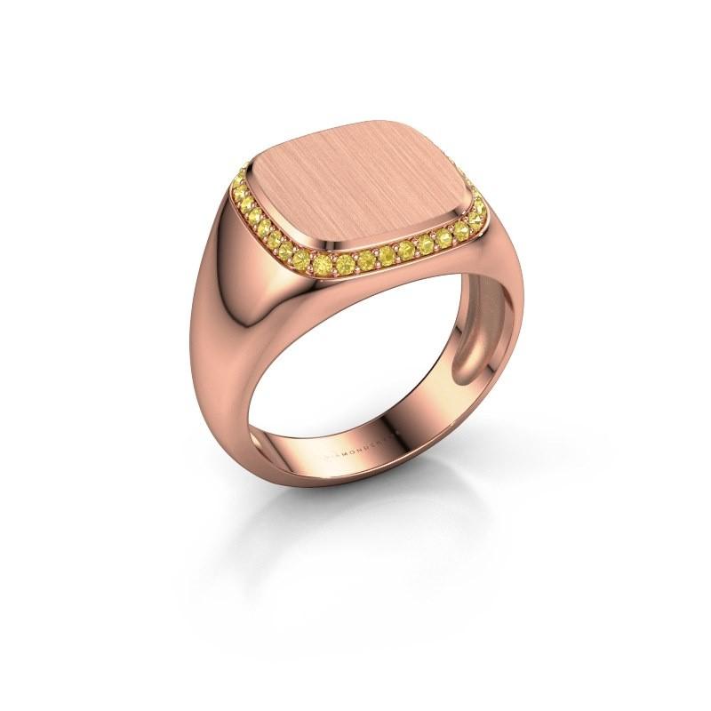 Heren ring Jesse 1 375 rosé goud gele saffier 1.2 mm