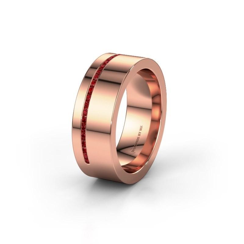 Trouwring WH0143L17BP 375 rosé goud robijn ±7x2 mm