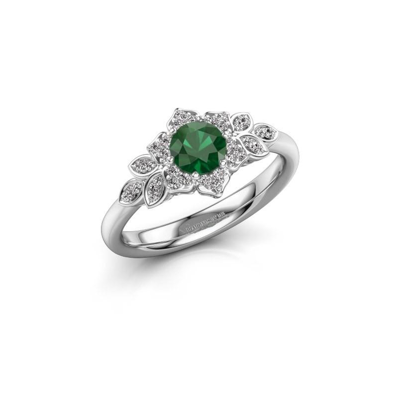 Verlovingsring Tatjana 585 witgoud smaragd 5 mm