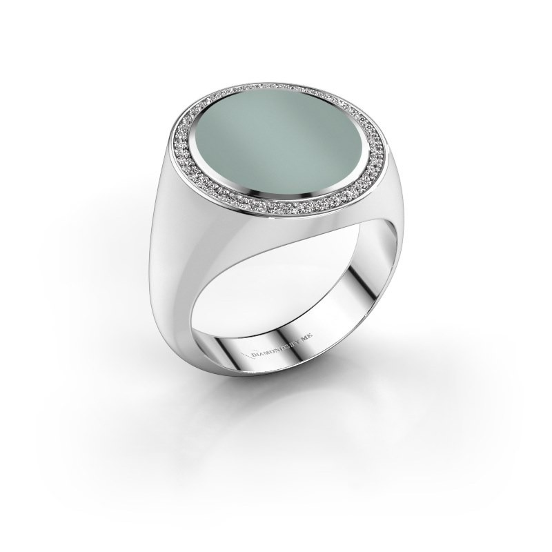Signet ring Adam 5 585 white gold green sardonyx 15x13 mm