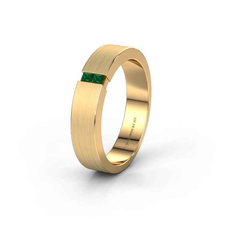 Wedding ring WH2136M15E 375 gold emerald ±5x2.4 mm
