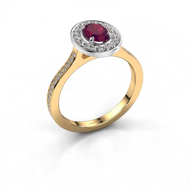 Ring Madelon 2 585 goud rhodoliet 7x5 mm