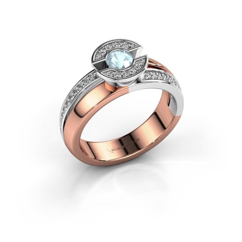 Ring Jeanet 2 585 rosé goud aquamarijn 4 mm