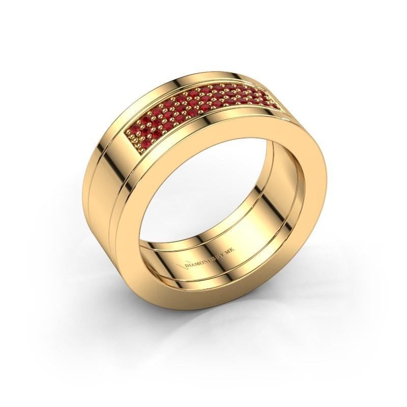 Ring Marita 1 585 goud robijn 1.1 mm